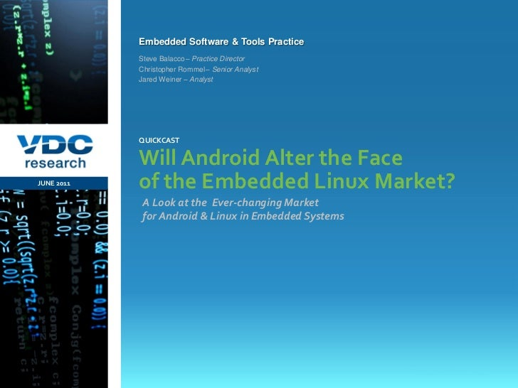 Embedded Software & Tools Practice                  Steve Balacco – Practice Director                  Christopher Rommel ...