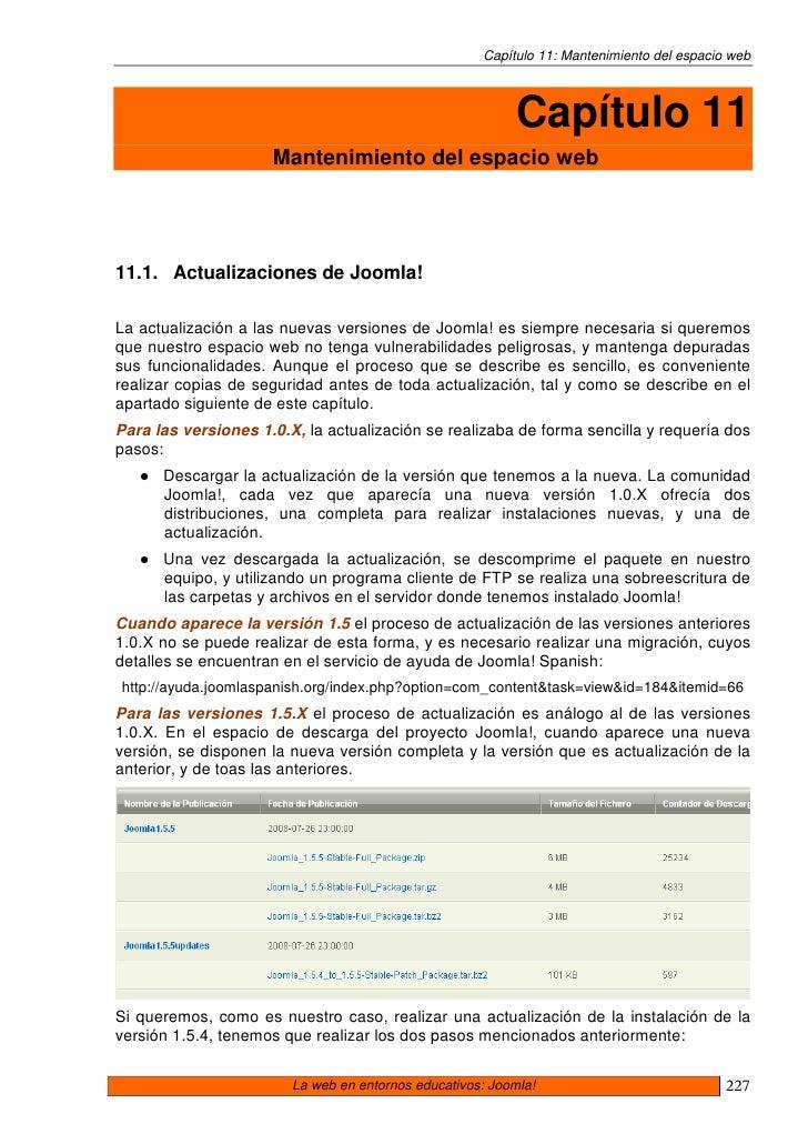 Capítulo 11: Mantenimiento del espacio web                                                               Capítulo 11      ...