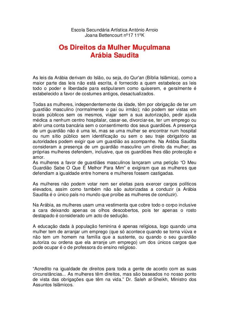 Escola Secundária Artística António Arroio                        Joana Bettencourt nº17 11ºK            Os Direitos da Mu...