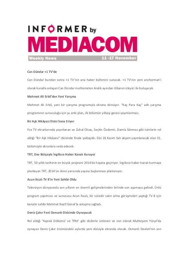 11 - 17 Kasım 2013 - Medya Haberleri