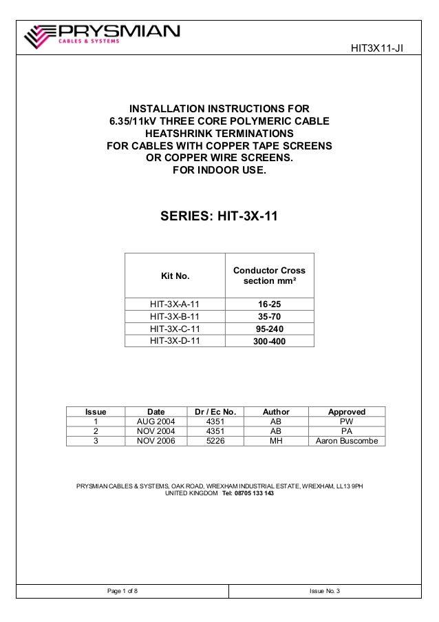 11kV Heat Shrink Cable Terminations - Prysmian HIT3XB11 3 Core 35-70sqmm 11kV Termination