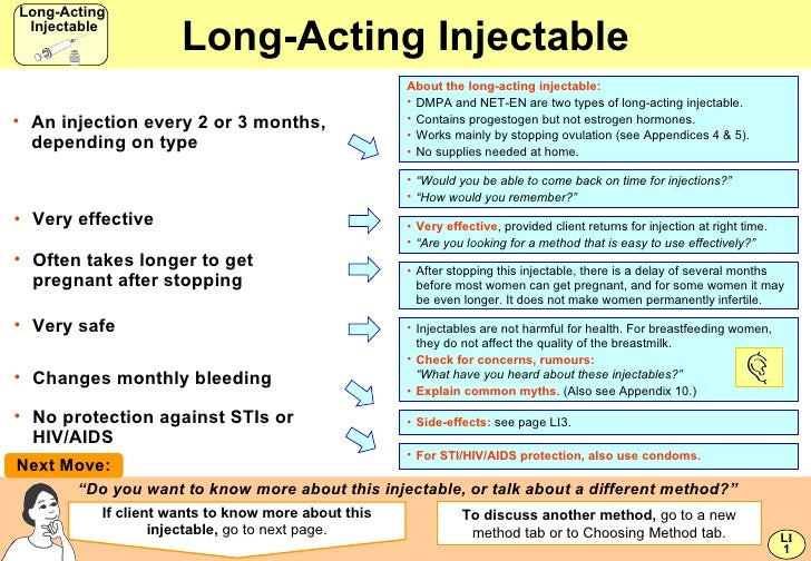 """Long-Acting Injectable <ul><li>"""" Would you be able to come back on time for injections?"""" </li></ul><ul><li>"""" How would you..."""