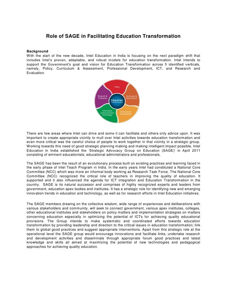 Role of SAGE in Facilitating Education TransformationBackgroundWith the start of the new decade, Intel Education in India ...