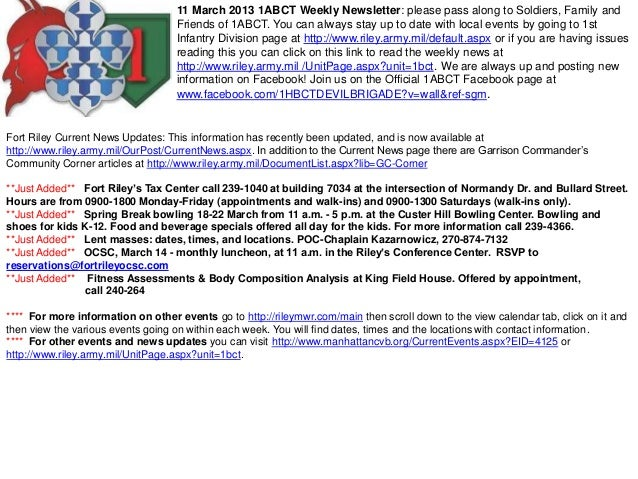 11 March 2013 1ABCT Weekly Newsletter: please pass along to Soldiers, Family and                                   Friends...
