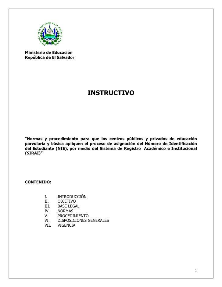 """Ministerio de Educación República de El Salvador                                  INSTRUCTIVO     """"Normas y procedimiento ..."""