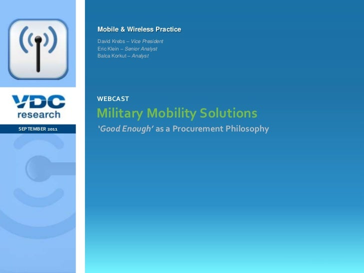 Military Mobility Solutions: 'Good Enough' as a Procurement Philosophy