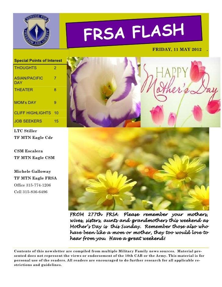 FRSA FLASH                                                                         FRIDAY, 11 MAY 2012            .Special...