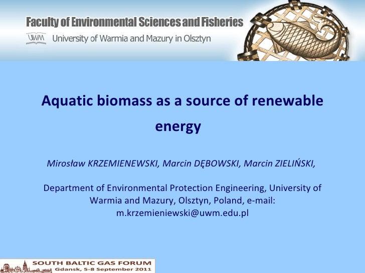 Aquatic biomass as  a  source of renewable energy   Mirosław KRZEMIENEWSKI, Marcin DĘBOWSKI, Marcin ZIELIŃSKI,  Department...