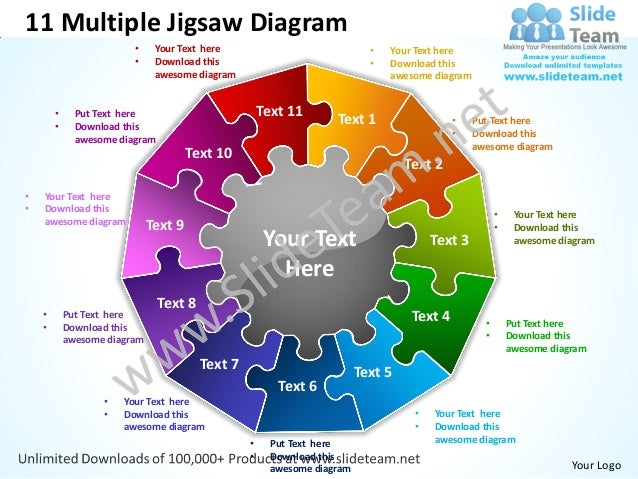 Jigsaw puzzle template playbestonlinegames 11 multiple jigsaw diagram powerpoint templates 0712 toneelgroepblik Image collections