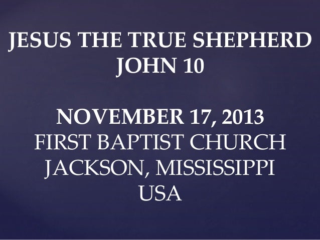 11 November 17, 2013, John 10;1-42, Jesus The True Shepherd