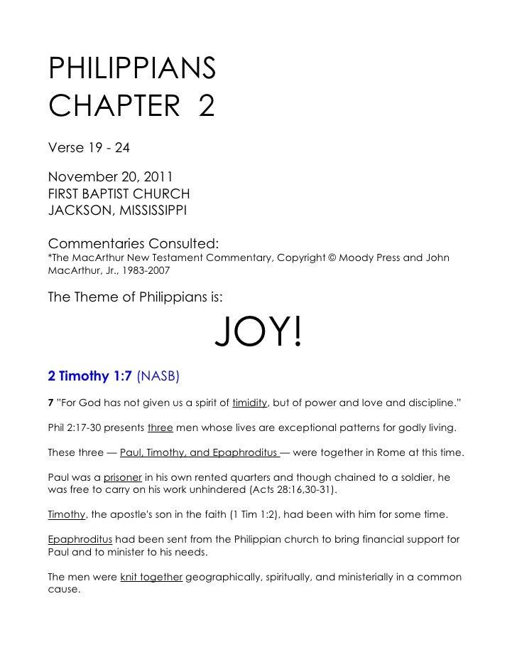11 November 20, 2011 Philippians, Chapter 2  Verse 19 - 24