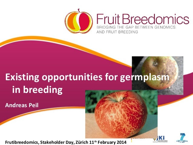 Existing opportunities for germplasm in breeding Andreas Peil  Frutibreedomics, Stakeholder Day, Zürich 11th February 2014
