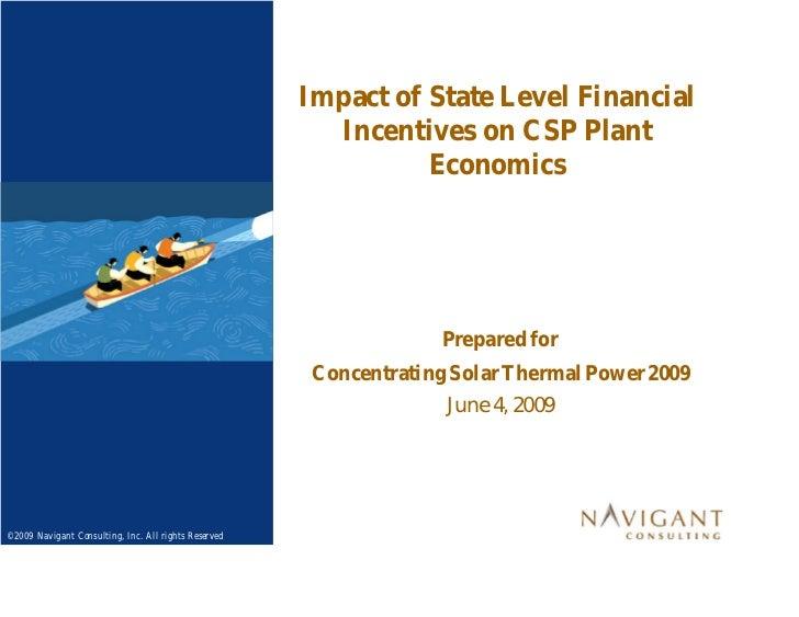 Impact of financial incentives on CSP plant economics [CSTP 2009]
