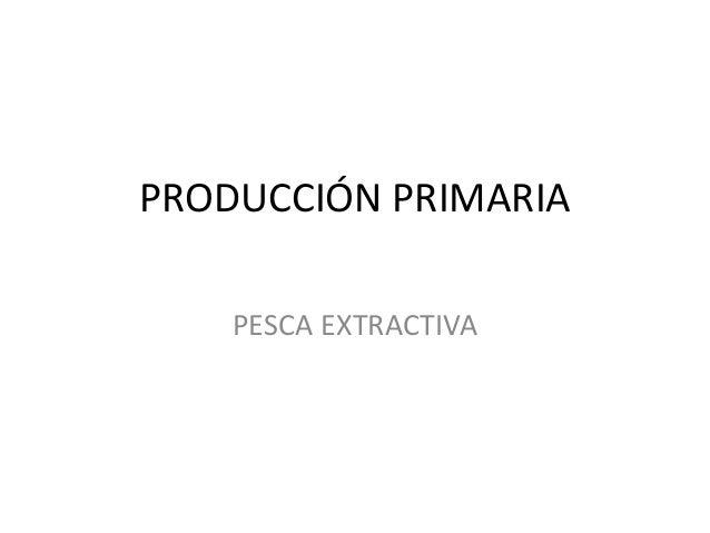 PRODUCCIÓN PRIMARIA PESCA EXTRACTIVA