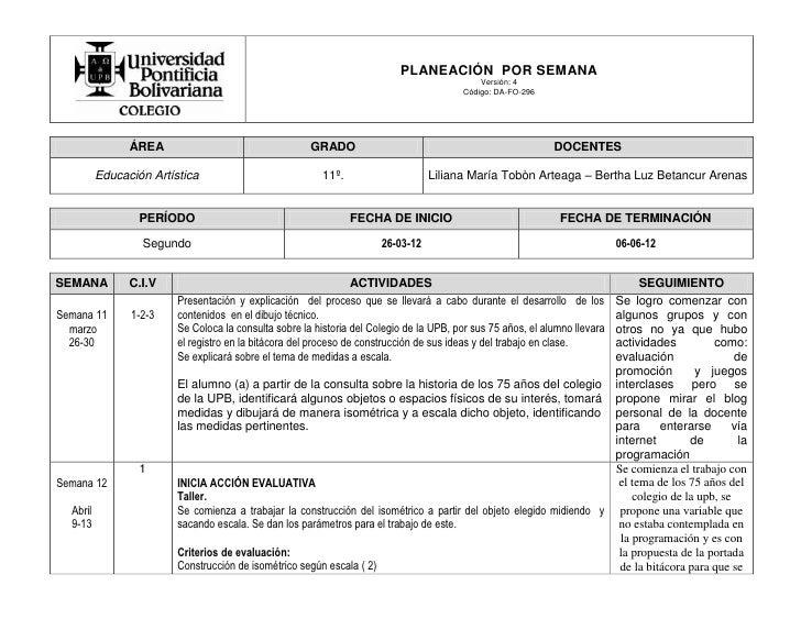 PLANEACIÓN POR SEMANA                                                                                             Versión:...