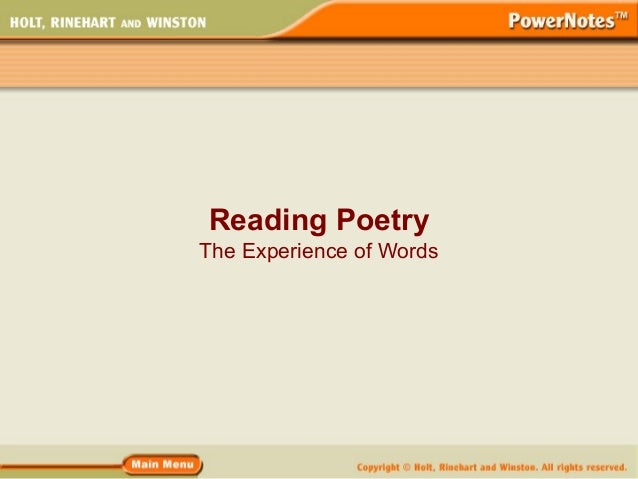 Reading PoetryThe Experience of Words