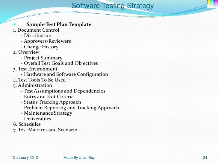 11 software testing strategy for Sample test strategy document template