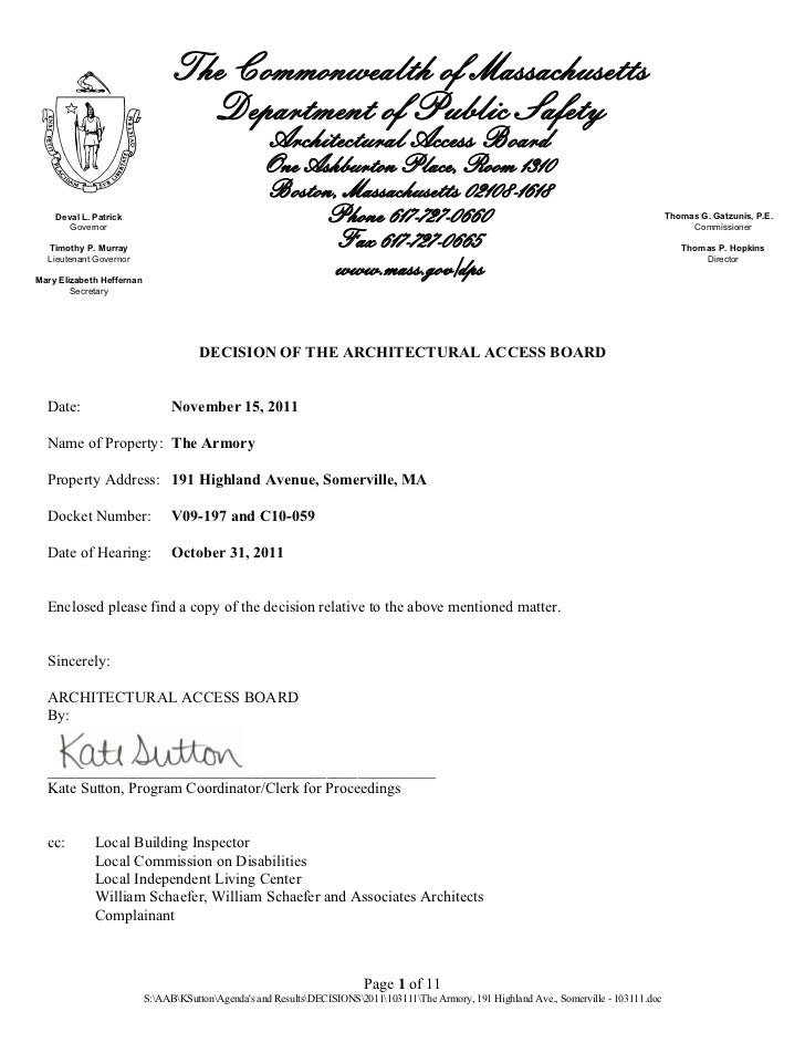 Armory Decision, October 31, 2011 Somerville, MA