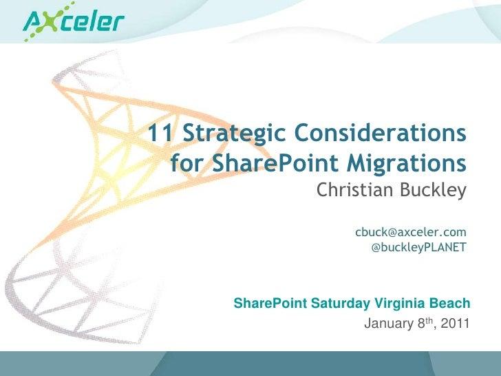 11 Strategic Considerations for SharePoint Migrations #SPSVB