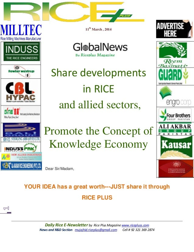 Daily Rice E-Newsletter by Rice Plus Magazine www.ricepluss.com News and R&D Section mujajhid.riceplus@gmail.com Cell # 92...