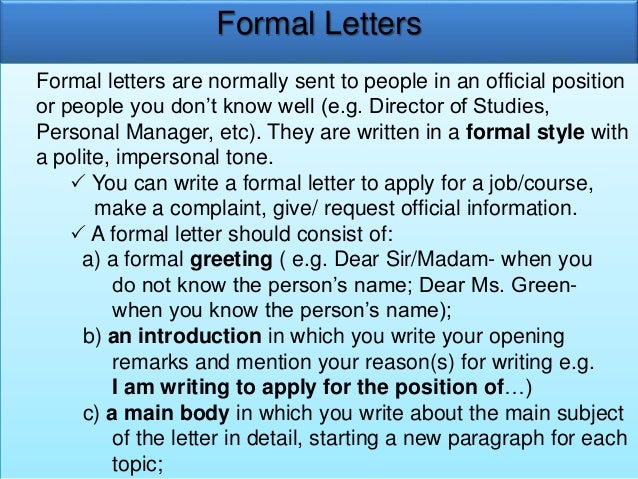Format Of Formal Letter Cbse Class 7