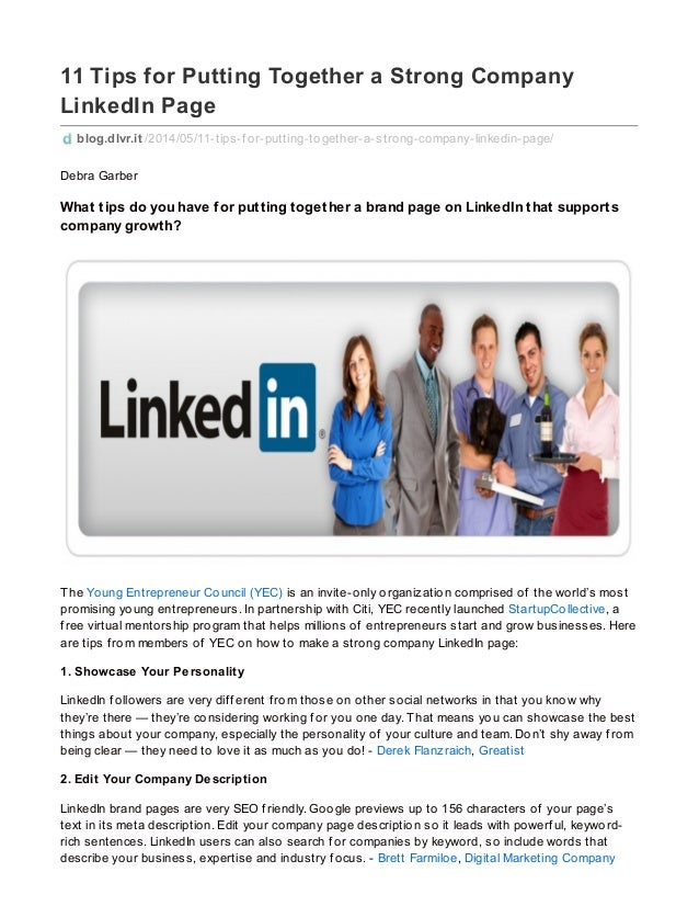 11 tips for_putting_together_a_strong_company_linked_in_page_dlvrit_blog