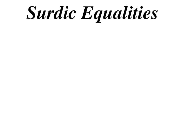 Surdic Equalities
