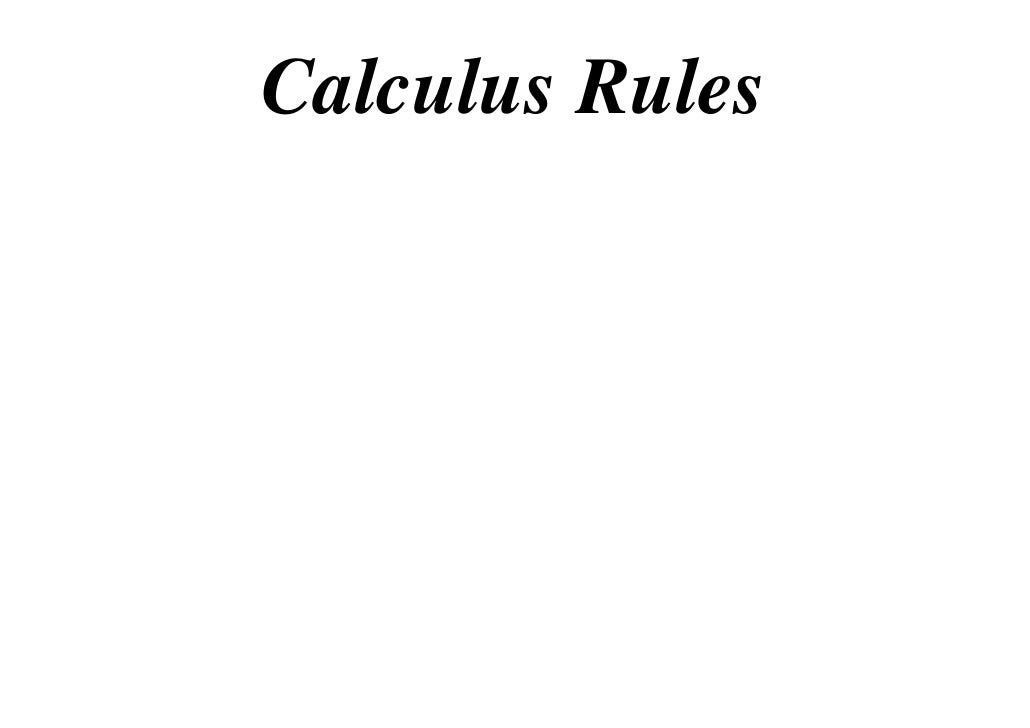Calculus Rules