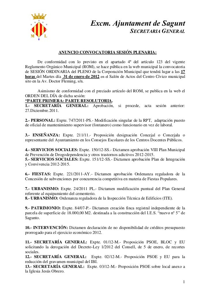 Excm. Ajuntament de Sagunt                                                             SECRETARIA GENERAL                 ...