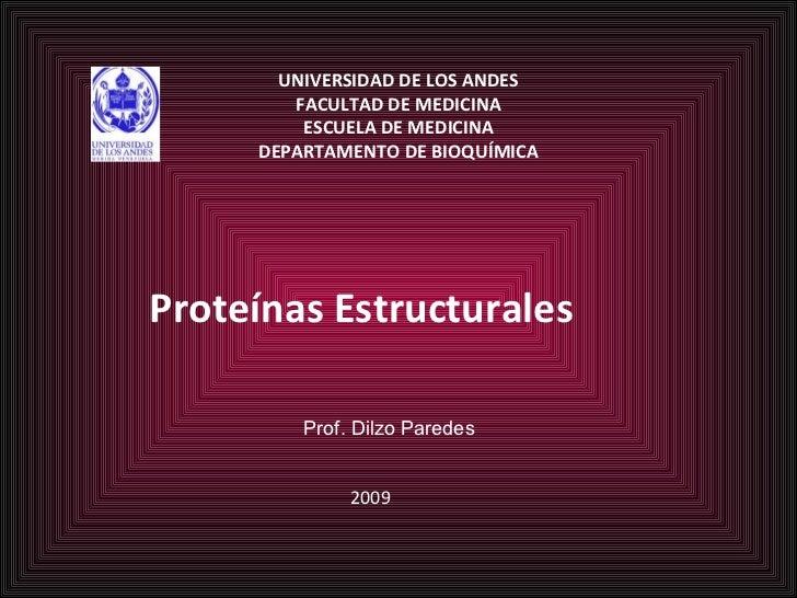 UNIVERSIDAD DE LOS ANDES FACULTAD DE MEDICINA ESCUELA DE MEDICINA DEPARTAMENTO DE BIOQUÍMICA Proteínas Estructurales Prof....