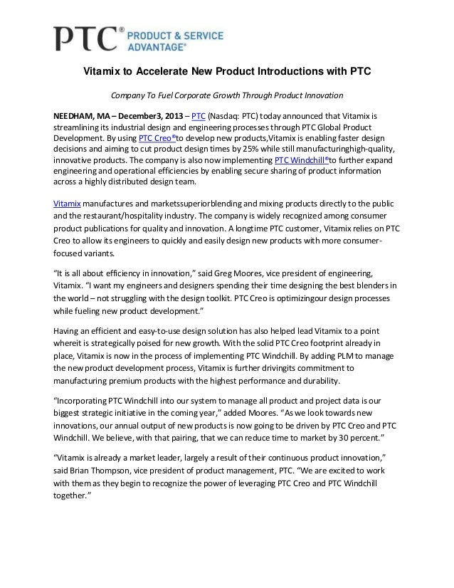 Vitamix to Accelerate New Product Introductions with PTC