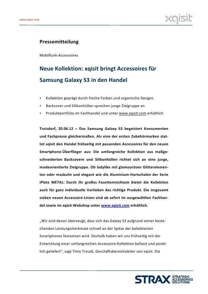WWW.XQISIT.COM              Pressemitteilung                            Mobilfunk‐Accessoires                        ...