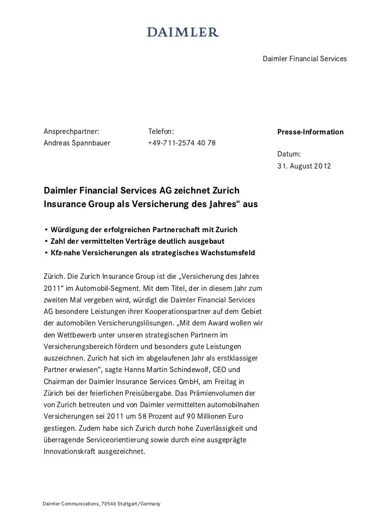 Daimler Financial ServicesAnsprechpartner:                          Telefon:                    Presse-InformationAndreas ...