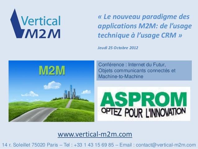 « Le nouveau paradigme des                                           applications M2M: de l'usage                         ...