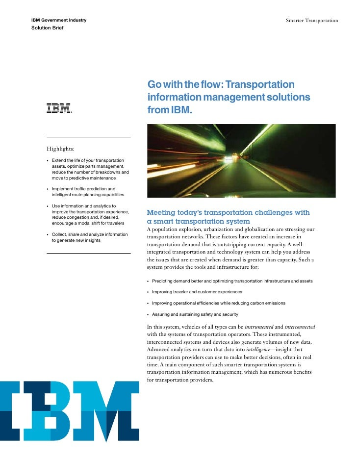 Go with the flow: Transportation information management solutions from IBM