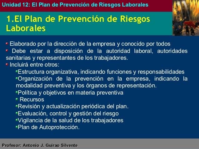 unidad 12 el plan de prevenci n de riesgos laborales