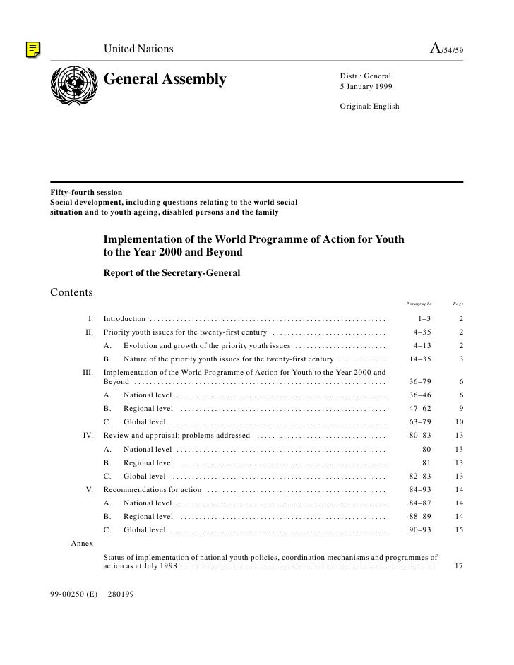 1999 - Implementation of the World Programme of Action for Youth to the Year 2000 and Beyond (A/54/59)