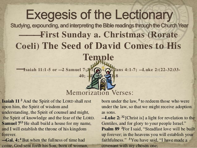———First Sunday a. Christmas (Rorate       Coeli) The Seed of David Comes to His                                          ...