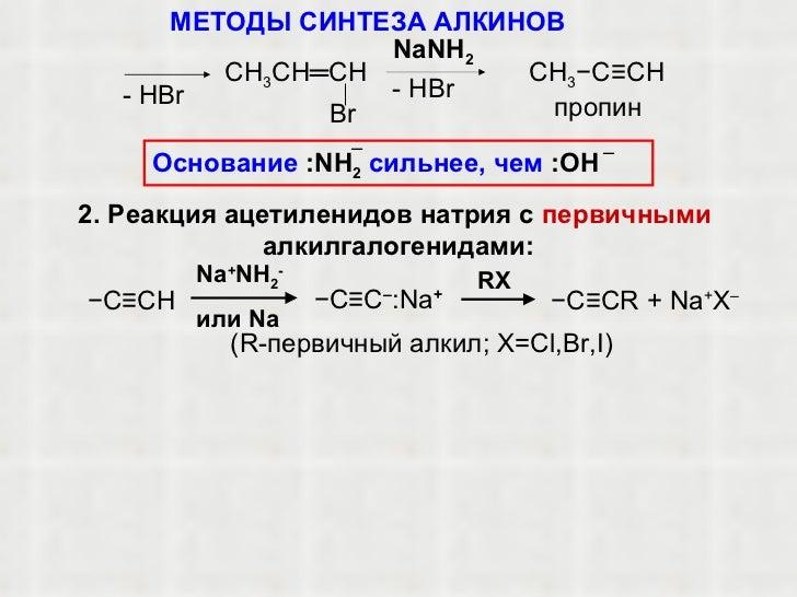 NaNH 2 пропин С H 3 CH═CH Br
