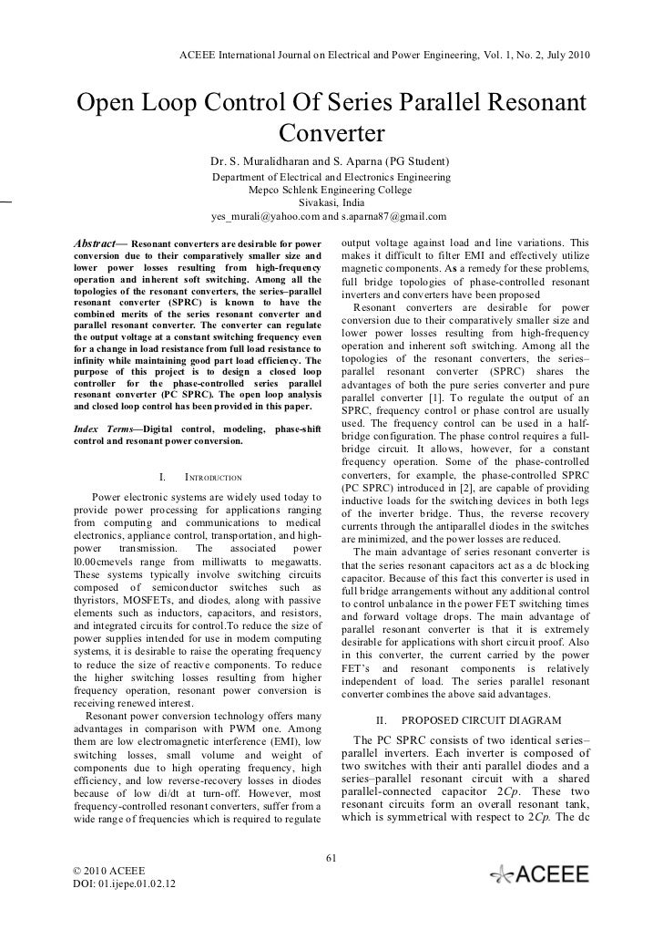 ACEEE International Journal on Electrical and Power Engineering, Vol. 1, No. 2, July 2010Open Loop Control Of Series Paral...