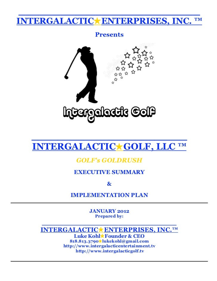 1-18-12-INTERGALACTIC ENTERPRISES™ EXECUTIVE SUMMARY