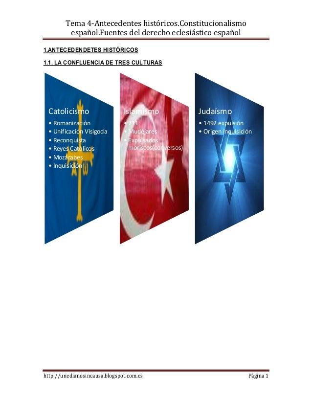 Tema 4-Antecedentes históricos.Constitucionalismo         español.Fuentes del derecho eclesiástico español1.ANTECEDENDETES...