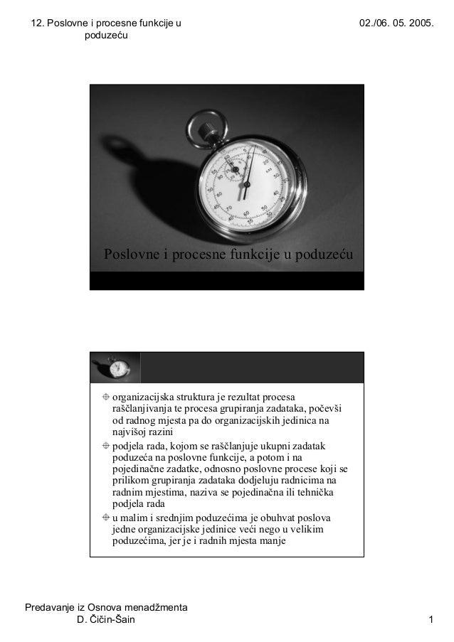 12. Poslovne i procesne funkcije u poduzeću 02./06. 05. 2005. Predavanje iz Osnova menadžmenta D. Čičin-Šain 1 Poslovne i ...