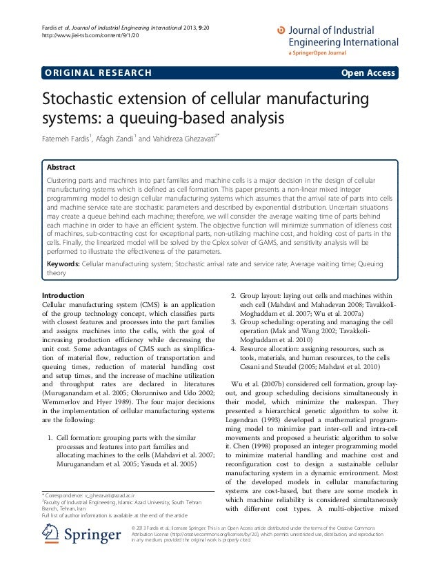ORIGINAL RESEARCH Open Access Stochastic extension of cellular manufacturing systems: a queuing-based analysis Fatemeh Far...