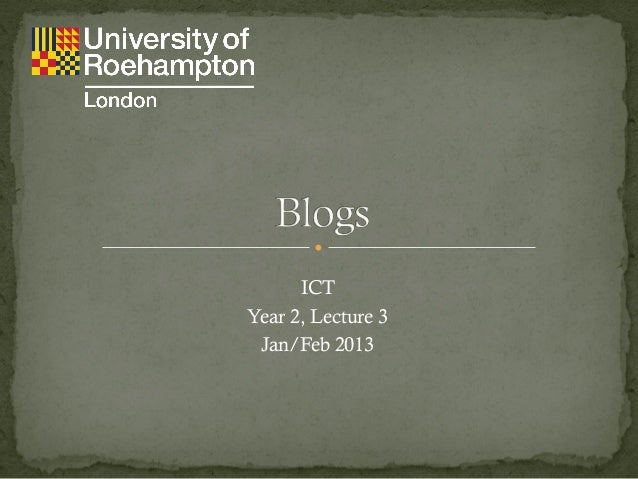 ICTYear 2, Lecture 3 Jan/Feb 2013