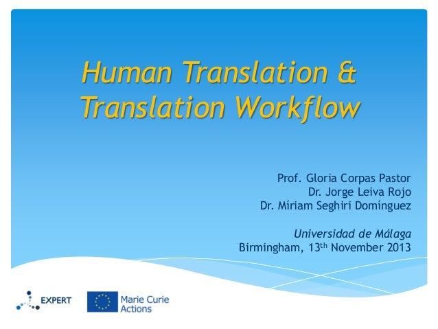 Human Translation & Translation Workflow Prof. Gloria Corpas Pastor Dr. Jorge Leiva Rojo Dr. Míriam Seghiri Domínguez Univ...