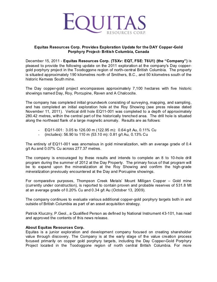 Equitas Resources Corp. Provides Exploration Update for the DAY Copper-Gold                     Porphyry Project- British ...