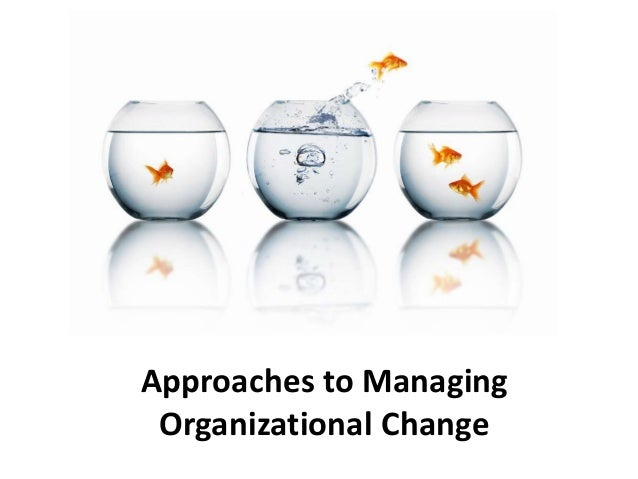 approaches to managing organizational change Four main approaches to managing organizational change griffin - management, 8th edition chapter 13 - managing organizational change and innovation 1 the nature of organization change – any substantive modification to some part of the organization a.