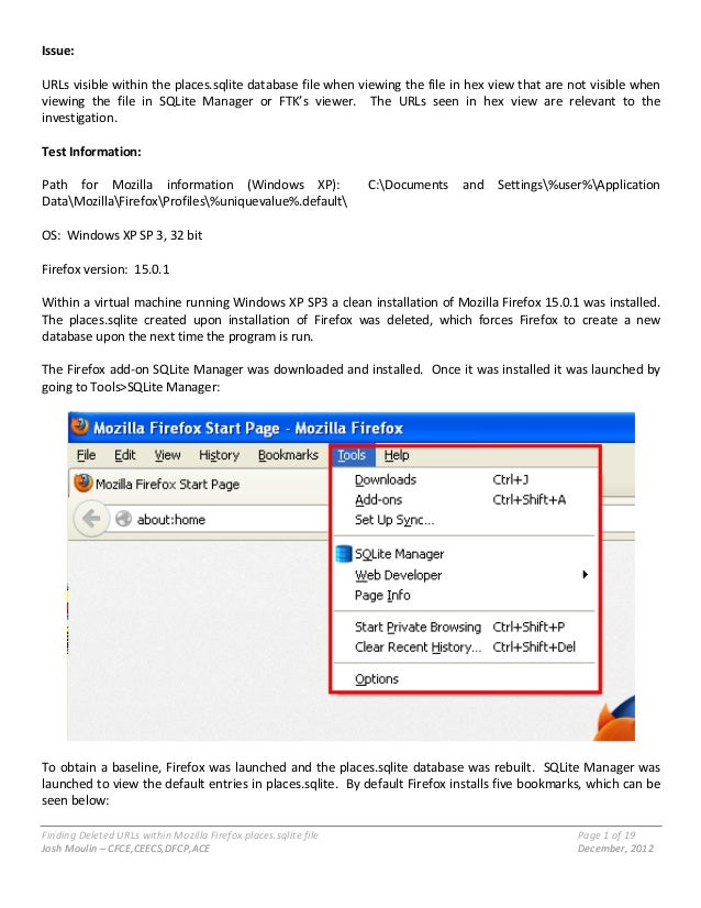 Finding  Deleted  URLs  within  Mozilla  Firefox  places.sqlite  file      Page  1  of  19     ...