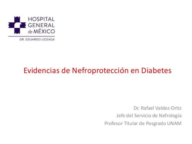 Evidencias de Nefroprotección en Diabetes Dr. Rafael Valdez-Ortiz Jefe del Servicio de Nefrología Profesor Titular de Posg...